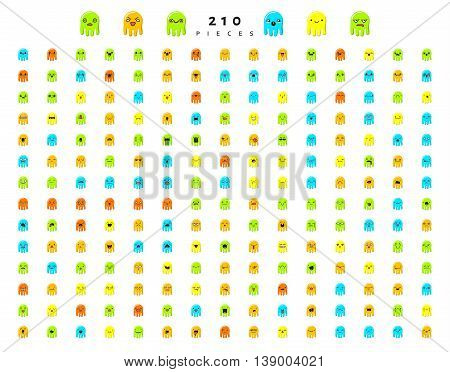 Monsters cute characters with doodle emotions, set isolated of 210 pieces sketch. Face smile, cartoon sea creatures. Design drawn icons.