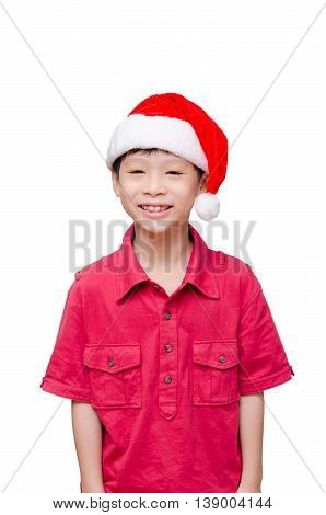 Little Asian boy with  Xmas hat and smiles