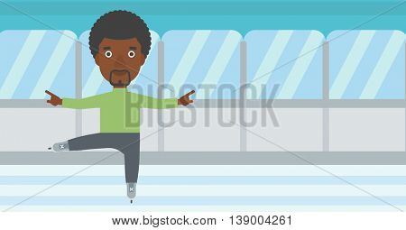 An african-american figure skater with the beard performing on indoor ice skating rink. Young hipster male figure skater dancing. Vector flat design illustration. Horizontal layout.