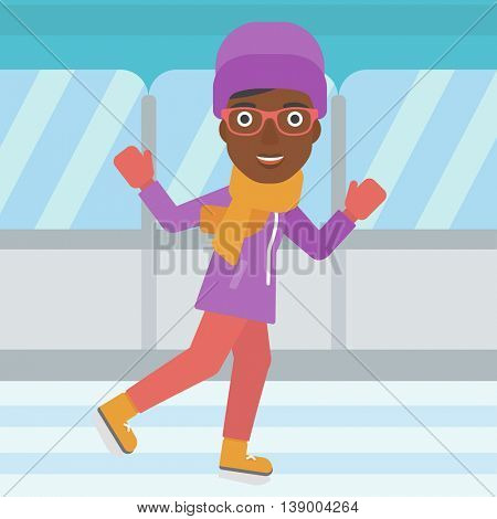 An african-american woman ice skating on indoor ice skating rink. Sport and leisure concept. Vector flat design illustration. Square layout.