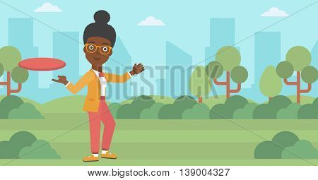 An african-american woman playing flying disc in the park. Young woman throwing a flying disc. Sportswoman catching flying disc outdoors. Vector flat design illustration. Horizontal layout.
