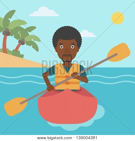 An african-american sportsman riding in a kayak in the sea. Young man traveling by kayak. Male kayaker paddling. Man paddling a canoe. Vector flat design illustration. Square layout.