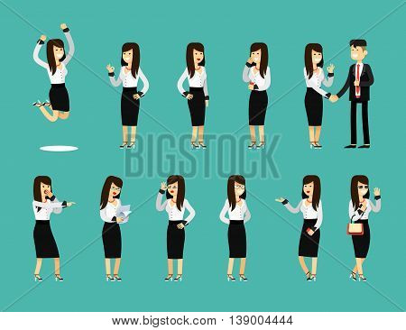 Characters set isolated business woman and man, in black white costume vector illustration. Office staff, girl happy face, people success, manager and employee. Business concept in flat.