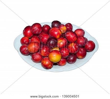 yellow red ripe plum tree with drops of water on a white bowl
