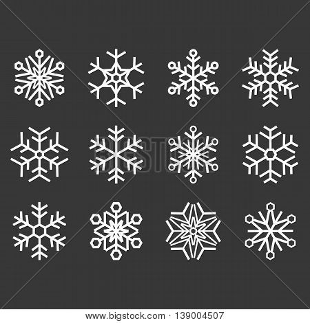 Vector snowflakes set, symmetry snow flake flat design