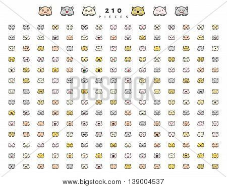 Big set 210 pieces emotions isolated. Cats cute funny. Web emoji. Anger and compassion. Laughter tears. Sadness and surprise. Happiness and fear. Cunning, cheerful.