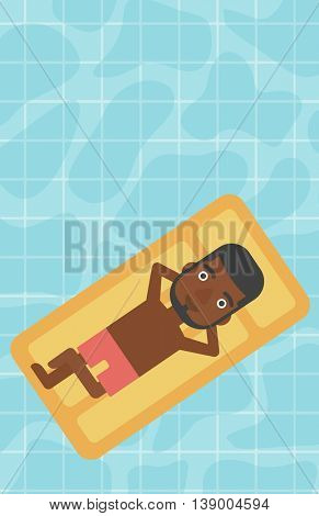 An african-american man relaxing on the air bed in the swimming pool. An african-american man enjoying his vacation. Vector flat design illustration. Vertical layout.