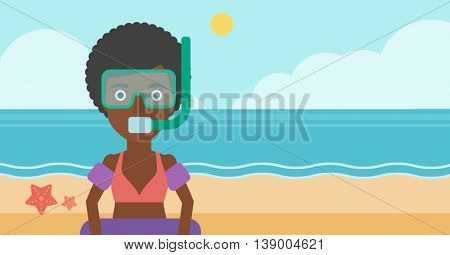 African-american woman in mask, tube and rubber ring standing on the background of beach and sea. Woman wearing snorkeling equipment on the beach. Vector flat design illustration. Horizontal layout.