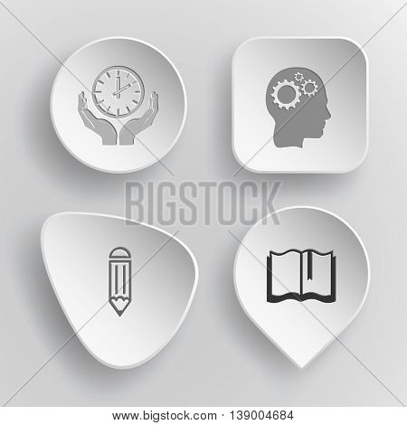 4 images: clock in hands, human brain, pencil, book. Education set. White concave buttons on gray background. Vector icons.
