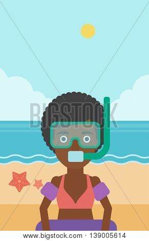 An african-american woman in mask, tube and rubber ring standing on the background of beach and sea. Woman wearing snorkeling equipment on the beach. Vector flat design illustration. Vertical layout.