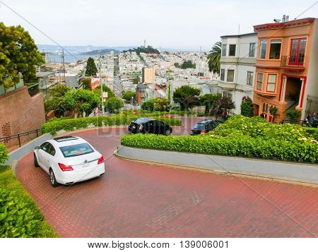 San Francisco, United States of America - May 04, 2016: View of Lombard Street in San Francisco , California, USA. Lombard street is crookedest street in the world.