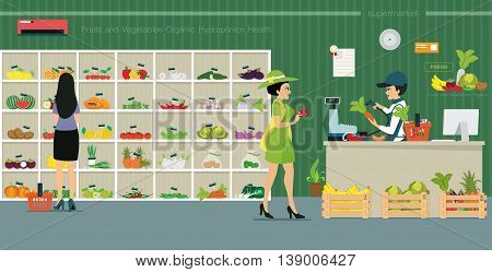 Credit card customers are from the counter to buy vegetables in supermarkets.