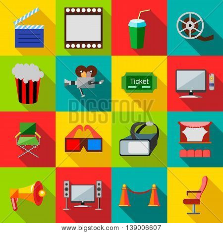 Cinema icons in flat style. Film set collection vector illustration
