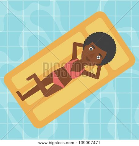 An african-american woman relaxing on the air bed in the swimming pool. An african-american woman enjoying her vacation. Vector flat design illustration. Square layout.