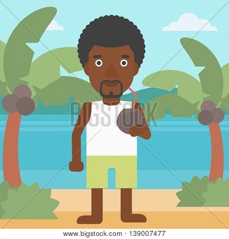 An african-american man with a coconut cocktail on the beach. Man drinking a coconut cocktail on the beach. Man enjoying his vacation. Vector flat design illustration. Square layout.