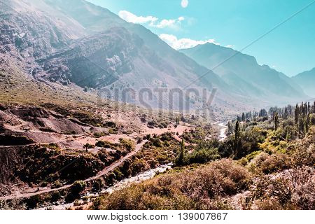 Mountains And Hills Of The Andes Mountains In Santiago, Chile