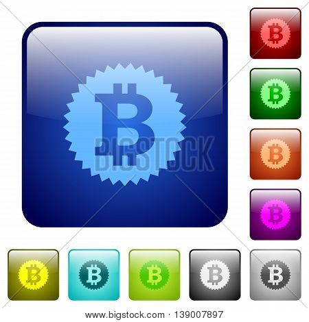 Set of bitcoin sticker color glass rounded square buttons