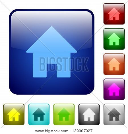 Set of home color glass rounded square buttons