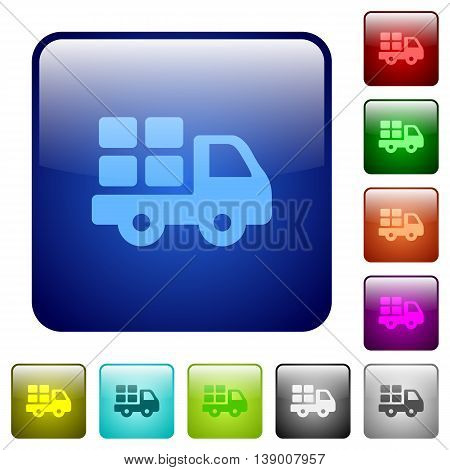 Set of transport color glass rounded square buttons