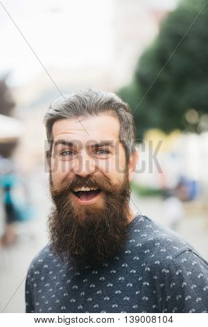 Handsome Bearded Man Outdoor