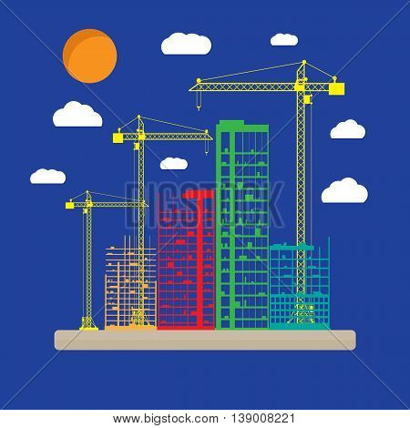 Construction site icon with buildings and cranes. skyscraper under construction. vector illustration on blue background with clouds