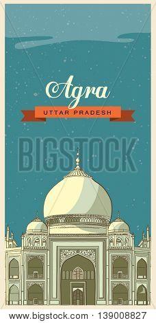 Travel to India poster, city of Agra in Uttar Pradesh province, featuring Taj Mahal landmark