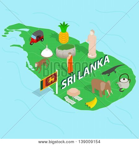 Sri Lanka map concept in isometric 3d style vector illustration