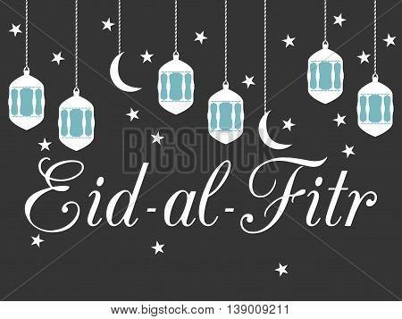 Ramadan Kareem, Lantern And Moon. Eid Al Fitr Muslim Traditional Holiday. Eid Mubarak. Vector.