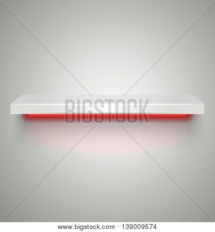 Empty white plastic illuminated by neon red light shelve with shadows on grey light background. vector illustration
