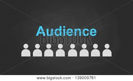 audience text concept with user icon symbol aligning on top of blackboard vector graphic illustration