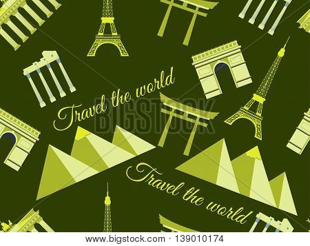 Seamless Pattern With Architectural Monuments From Different Countries. Vector Illustration.