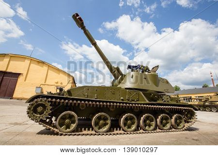 ZHITOMIR UKRAINE - MAY 23 2016 : Russian battle tank close up: self-propelled armored artillery old howitzer 152mm howitzer 2C3 Akacia