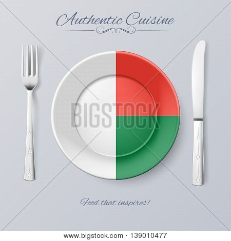 Authentic Cuisine of Madagascar. Plate with Malagasy Flag and Cutlery