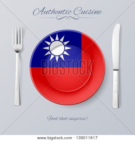 Authentic Cuisine of Taiwan. Plate with Flag and Cutlery