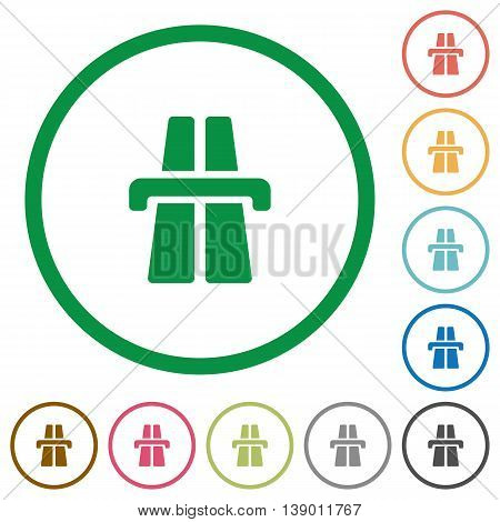 Set of Highway color round outlined flat icons on white background