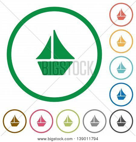 Set of Sailboat color round outlined flat icons on white background