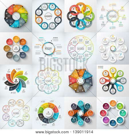 Big set of vector octagons, circles and other elements for infographic. Template for cycle diagram, graph. Business concept with 7 options, parts, steps.