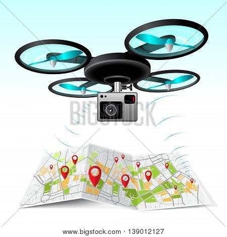 Drone, quad copter with photo camera flying in the sky. Concept easy editable for Your design.