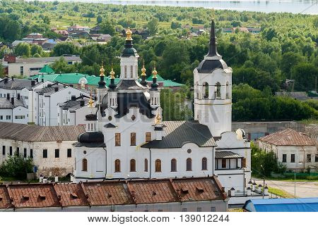Tobolsk, Russia - July 15, 2016: Downtown of Tobolsk and view on Church of Zakhariya and Elizabeth