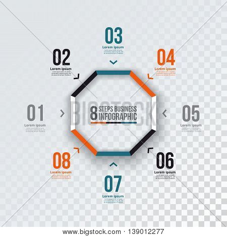 Vector octagon infographic. Template for cycle diagram, graph, presentation and chart. Business concept with 8 options, parts, steps or processes.  Transparent background.