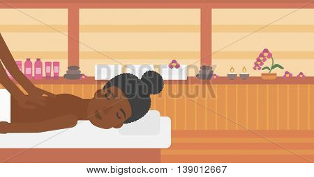 An african-american woman getting a back massage on the background of spa center. An african-american woman having back massage in the spa salon. Vector flat design illustration. Horizontal layout.