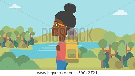 An african-american woman with backpack enjoying the view of landscape with mountains and lake. Vector flat design illustration. Horizontal layout.