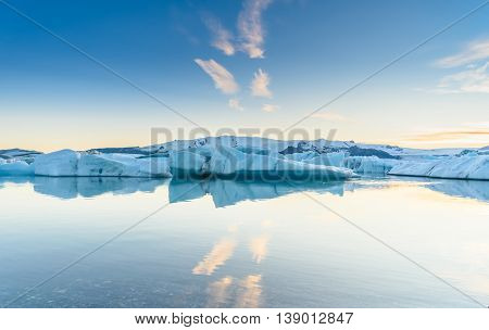 Beautiful view of icebergs in Jokulsarlon glacier lagoon Iceland global warming and climate change concept selective focus