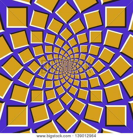 Optical illusion background. Golden squares are moving circularly toward the center on blue background. Abstract background in form of concentric web.