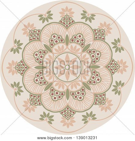 Drawing of a floral mandala in peach, burgundy and dull green colors on a white background