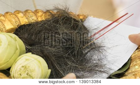 man's hair after cut with lotus flower on tray in buddhism monk ordination ceremony
