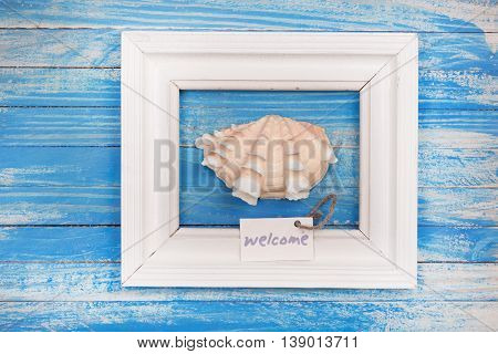 Sea Shell In The Frame With Sign - Welcome