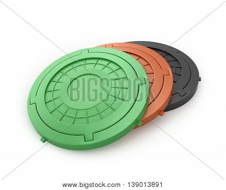 Manhole Covers. Sewer manholes on a white background. 3d illustration