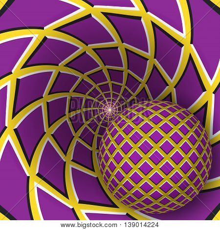 Optical illusion illustration. A ball is moving on rotating yellow background with purple quadrangles. Abstract background in a surreal style.