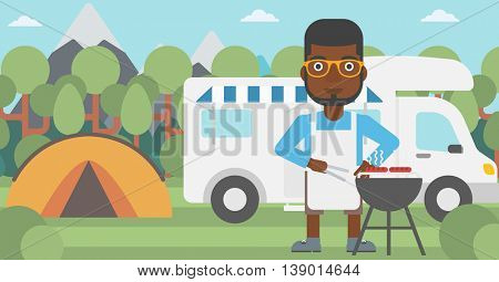 An african-american man cooking meat on barbecue on the background of camper van. Man travelling by camper van and having barbecue party. Vector flat design illustration. Horizontal layout.